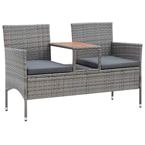 vidaXL Gartenbank 2-Sitzer mit Teetisch Witterungsbeständig Gartenmöbel Lounge Bank Sofa Sitzbank Gartenstuhl Gartensofa 143cm Poly Rattan Grau