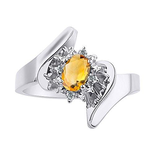 Anillo de plata de ley con diamantes y citrino – Halo de diamante – Anillo de piedra natal de color