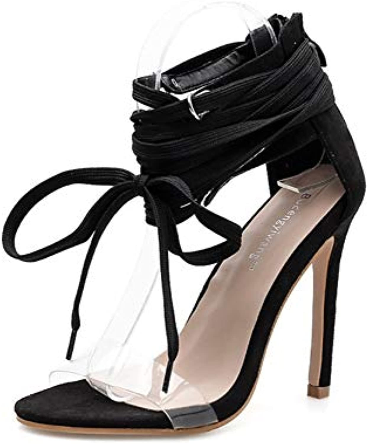 JQfashion Ladies'high Heels, Sexy Cross Straps, Slim-Heeled Sandals, Transparent PVC Roman shoes