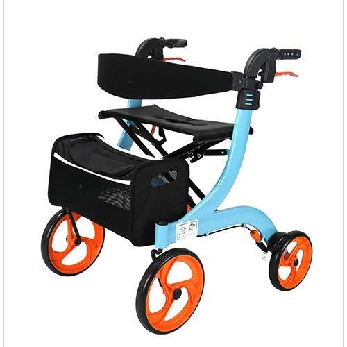 JJZXPJ Rollator met wielen, compact, inklapbaar, in hoogte verstelbaar, met vier wielen, boodschappentrolley, aluminiumlegering met tas voor heren