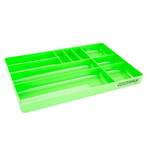 OEMTOOLS 22213 10-Compartment Low-Profile Drawer Organizer Tray | Organize Tools and Small Parts for Work, Transport, or in Your Tool Chest | High Impact ABS Construction | Green