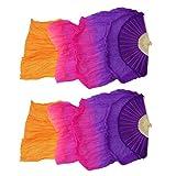 IPOTCH 2x Abanico de Bambú Plegable de Danza de Vientre Velo Largo de Seda Ventilador de Baile Latino 180x90cm - Púrpura + naranja, tal como se describe