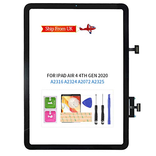 LADYSON for iPad Air 4 Screen Replacement for iPAD Air 4th Gen 2020 10.9' A2316 A2324 A2072 A2325 Touch Screen Digitizer Assembly Replacement Glass Lens Parts Kits,with Tempered Glass +Free Tools Set