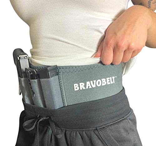 BRAVOBELT Belly Band Holster for Concealed Carry - Athletic Flex FIT for Running, Jogging, Hiking - Glock 17-43 Ruger S&W M&P 40 Shield | for Men & Women (Grey Ghost, Standard - Up to 44' Belly)