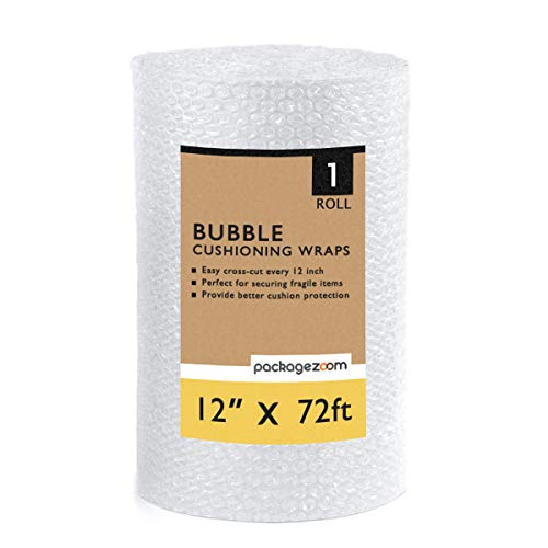 """PackageZoom Bubble Cushioning Wrap 12"""" x 72 Ft Perforated Every 12"""" Shipping Packing Moving Supplies Bubble Cushioning Wrap for Packing and Moving Boxes Bubble Packing Wrap for Moving"""