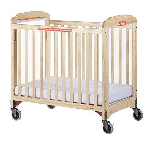 Foundations First Responder Evacuation Crib with Fixed-Side, Clearview, (Includes Evacuation Frame and Casters), Natural