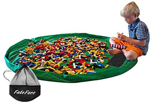 FakeFace Nylon Aufbewahrungsbeutel für Kinder Spielzeuge Aufräumsack & Spieldecke 2 in 1 Spielzeugaufbewahrung Matte Spielzeugbeutel Spielzeugtasche (Grün)