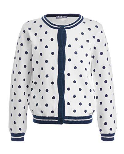 GULLIVER Cárdigan Chaqueta de punto para niña, manga larga, color blanco, con botones, 2-7 años, 98-128 cm Blanco 98 cm