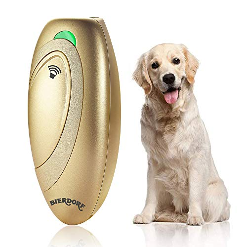 BIERDORF Antibellgerät, Ultraschall Bellkontrollgerät, Hundetrainingshilfe mit Kontrollbereich bis 16,4 Fuß, Batterie mitgeliefert, LED-Anzeige, Tragbar für Außen- und Innenbereich, Sicher, Golden