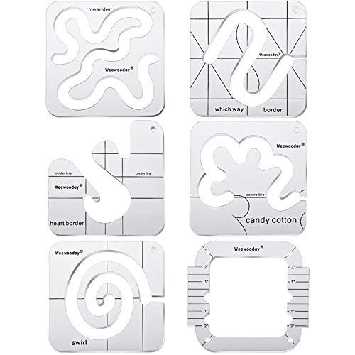 Set de 6 Plantillas de Acolchado de Movimiento Libre Plantillas de Máquinas de Coser Domésticas Regla Transparente DIY con Marco Acolchado para Manualidades Diseños Acolchado Simples