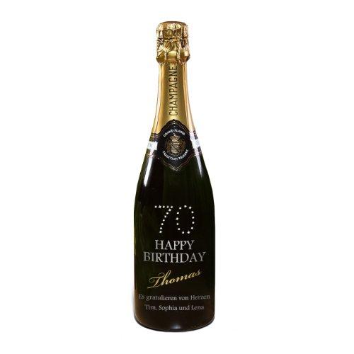 privat Sekt Champagner zum 70. Geburtstag - mit Namen & Text - MADE WITH SWAROVSKI® ELEMENTS - 750ml