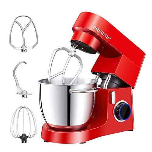 PHISINIC Küchenmaschine Knetmaschine, 1800W Rührmaschine, HighPower Motor, Kräftig und Leise, Teigmaschine inkl. 6,5 L Edelstahlschüssel, 3 Rührwerkzeuge, Spritzschutz, Metallgehäuse, Rot