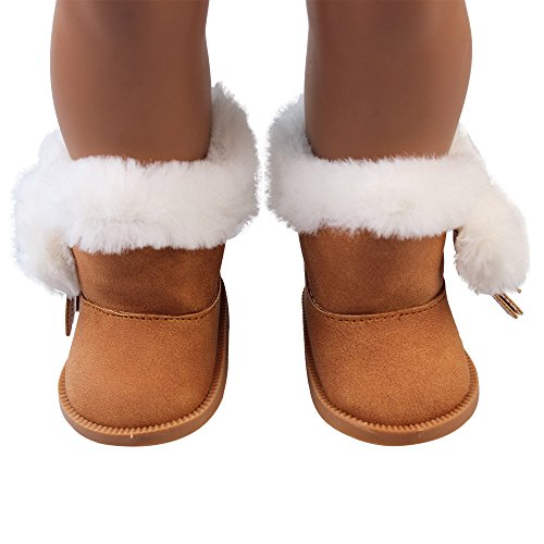 YUYOUG Doll Shoes Plush Winter Warm Snow Boots Shoes For 18 Inch Our Generation American Girl Dolls Mini Shoes (Coffee)