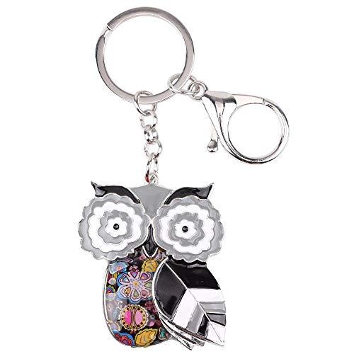 LZHLMCL Women Keyrings Keychains Enamel Owl Key Chain For Women Handbag Pendant Keychain Key Ring Car Decoration Jewelry Gifts Black