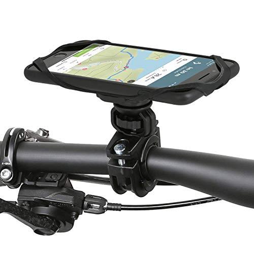 Wicked Chili QuickMOUNT Soporte de Bicicleta Compatible con iPhone 6 y iPhone 6S Plus - Adaptador para Manillar de Bici y Moto (22-33 mm) con Funda de móvil y Banda de Seguridad, Negro