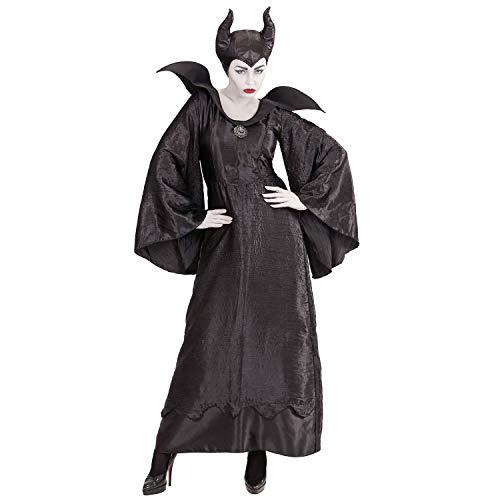 Amakando Elegante Disfraz de Bruja malfica para Dama - Negro S (ES 36/38) - Disfraz de Hada hechicera Oscura - El Punto Alto para Festival y Carnaval