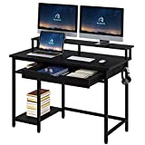 Rolanstar Computer Desk with Monitor Stand and Drawer, 47