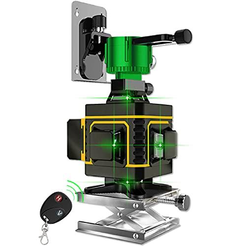 Nivel láser de línea verde cruzada 4x360 16 líneas de alta precisión Nivelación automática Base de elevación de...