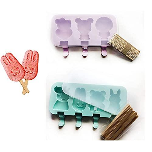 2-Delige Zelfs Siliconen Ijsvormpjes, Siliconen Ijsvormpjes Met Deksel, Ijslolly Kindervormpjes, Siliconen…