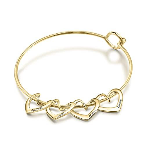 yuge Personalizado grabado nombre señoras en forma de corazón pulsera de acero inoxidable señoras personalizado pulsera DIY joyería regalo para su 4Hearts-oro