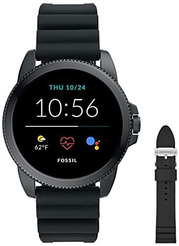 Fossil Connected Smartwatch Gen 5E para Hombre con tecnología Wear OS de Google, frecuencia cardíaca, GPS, NFC y notificaciones smartwatch, Silicona Negro + Correa para Reloj S221304, Silicona