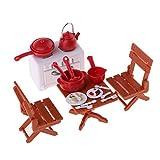 perfk 1/12 Puppenhaus Picknick Set Mini Möbel + Kochgeschirr + Lebensmittel Spielset aus Plastik
