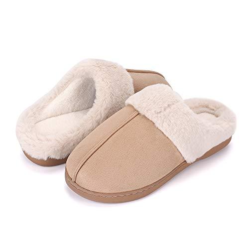 Women's Cozy Memory Foam Slippers Soft Plush Fleece Warm Slippers Slip-on Clog House Shoes for Indoor & Outdoor Anti-Skid Sole, Khaki 5-6 -  ESTAMICO, 1909-TX02-K36/37