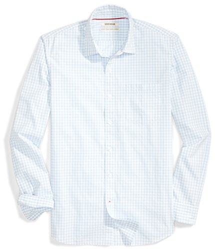 Amazon Brand - Goodthreads Mens Standard-Fit Long-Sleeve Gingham Plaid Poplin Shirt, grey/blue/white, Small