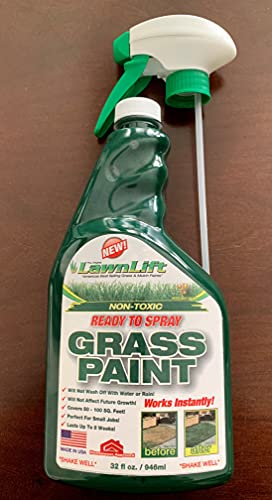 Lawnlift Pre-Mixed Grass Paint 32 Ounce Ready to Spray, No Mixing, 32 oz., Green