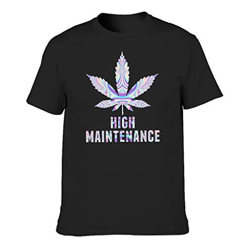 Camiseta de algodón con patrón de alto mantenimiento, para hombre