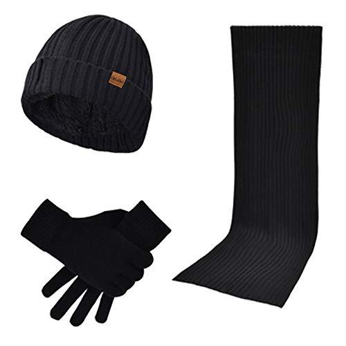 DDXI Herbst und Winter Männer und Frauen tragen Wollschal schwarz dick Huthandschuhe warmen dreiteiligen Anzug gestrickt