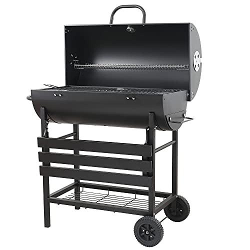 EU-AIRBIN Barbacoa de carbón vegetal con tapa, carro de carbón vegetal con regulación de temperatura, adecuada para jardín, exterior, picnic, color negro
