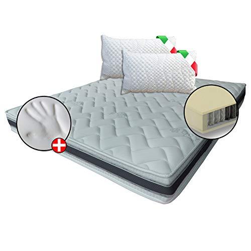 Colchón de 400 muelles ensacados Memory 7 zonas + 1 almohada de regalo banda 3D transpirable de Design 160_x_200_cm_+_2_Cuscini_Memory