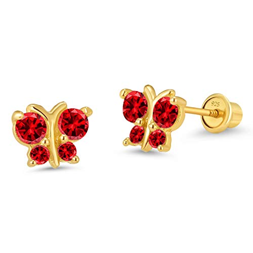 14k Gold Plated Brass Red Butterfly Cubic Zirconia Screwback Girls Earrings with Silver Post