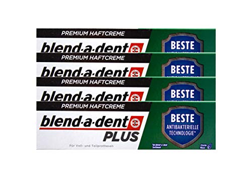 4x Blend a dent Plus Premium Haftcreme DUO SCHUTZ Minze 40g