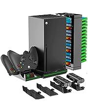OIVO Pionowy stojak do konsoli Xbox Series X, kontroler stacja ładująca z 2 bateriami 1300 mAh do Xbox Series X|S Xbox One S|X, Xbox Series X stojak z 14 otworami na gry, kabel USB do ładowania