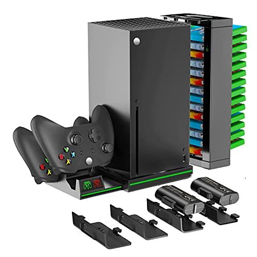OIVO Soporte vretical para consola Xbox Series X, estación de carga con 2 baterías de 1300mAh para Xbox Series X/S, Xbox One S/X, soporte para Xbox Series X con 14 ranuras para juegos