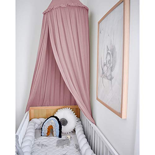 MAMERIA Kids Bed Canopy with Frills Cotton Mosquito Net for Baby Crib Reading Nook Curtain Hideaway Hanging Round Tent Nursery Bedding Play Room Decor (Dusty Rose)