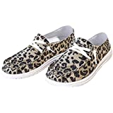 Rainlin Women Casual Canvas Shoes Comfort Lace-up Slip-on Shoes Fashion Sneakers Leapard Size 6.5