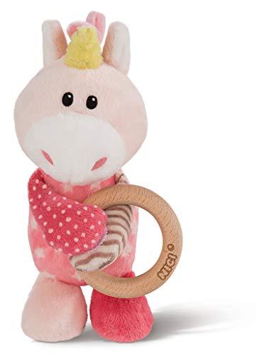 NICI 43653, rosa Einhorn Stupsi mit Holzring und Glocke, 15 cm