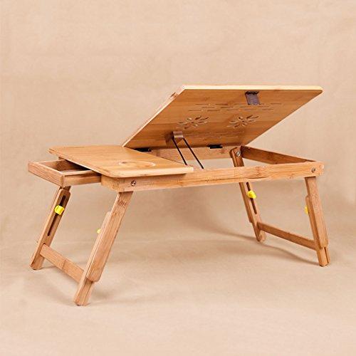 KKY-Enter Table Pliante Naturelle en Bois Massif Table d'ordinateur Portable Chevet Pliable télescopique Maison dortoir Simple Bureau étudiant (Couleur : with Drawer, Taille : 54 * 34 * 28cm)
