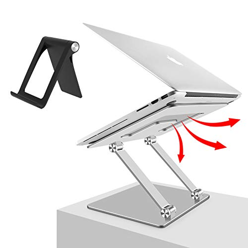 Laptop Notebook Stand Holder, Ergonomic Adjustable Ultrabook Stand Riser Portable with Mobile Phone Stand Compatible with MacBook Air Pro, Dell, HP, Lenovo Light Weight Aluminum Up to 15.6'