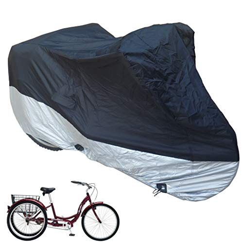 "Formosa Covers Adult Tricycle Cover fits Schwinn, Westport and Meridian - Protect Your 3-Wheel Bike from Rain, Dust, Debris, and Sun When Storing Outside or Inside - Black ss400 75"" L x 30"" W x 44"" H"