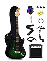 Full scale electric guitar with maple neck 3 single coil pickups for rock sound Accessories included: Gig bag, case strap, electronic tuner, picks, string winder, cord and polish cloth Guitar amp with headphone jack & overdrive (distortion) Everythin...