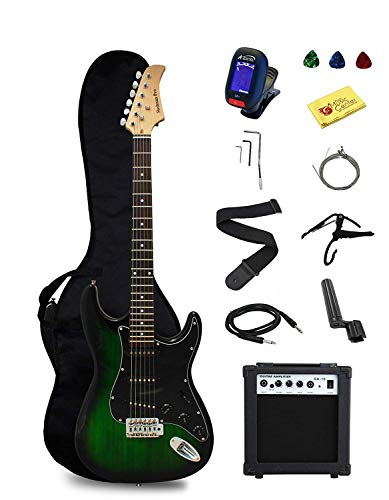 Stedman Pro EG39-TGRB-10W Beginner Series Electric Guitar with Case, Strap, Cable, Capo, Picks, Electronic Tuner, String Winder and Polish Cloth, 10W Amp, Transparent Green/Black Picguard