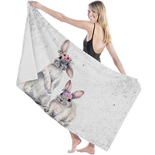 Tcerlcir Strandtuch Badetuch Saunatuch Duschtuch Ultra Leicht Handtuch Schnelltrocknend Saugfähiges Sporthandtuch Kaninchen mit Kränzen auf dem Kopf Aquarelle 130X80cm