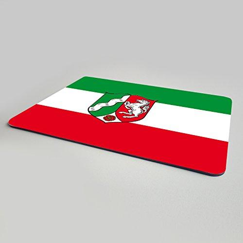 Addies muismat Nordrhein Westfalen - mooi muismat motief in luxe geschenkverpakking met rubberen ondermateriaal, 240x190mm - Duitse deelstaten vlaggen