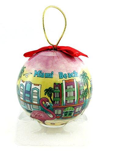 Miami Beach Skyline Christmas Ball Ornament