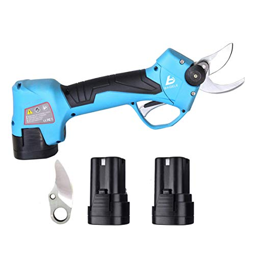 Professional 16.8V Cordless Electric Pruning Shears,2PCS Backup Rechargeable 2Ah Lithium Battery Powered Tree Trimmer,Anti-Cut Safety Electric Pruner,25mm (1 Inch) Cutting Diameter,6-7 Working Hours