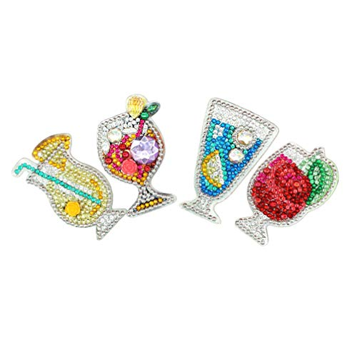 ARTIBETTER 4 chaveiros de pintura a diamante faça-você-mesmo com mosaico 5D, pingente de pintura diamante em forma de suco de broca para arte artística, chaveiro, bolsa, decoração